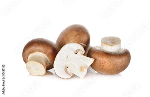 Photo  uncooked Swiss champignon brown mushroom on white background