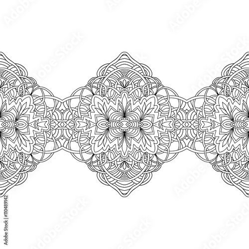 Abstract seamless floral border coloring page isolated on white Canvas Print