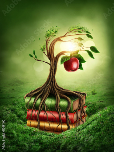 Tree of knowledge and forbidden fruit Fototapet