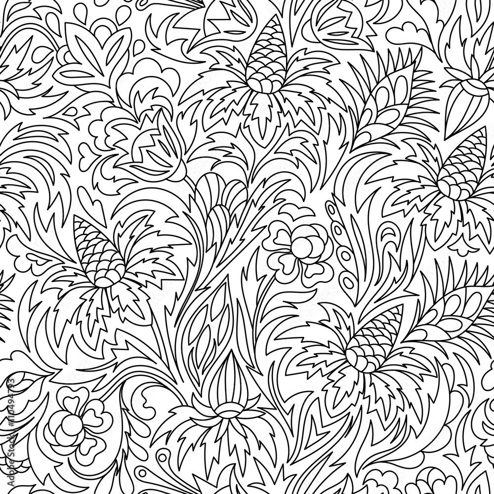 Coloring  book. Hand drawn. Black and white seamless pattern. Adults, children. Flowers.