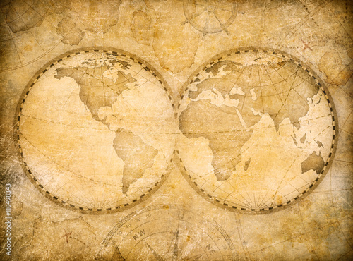 Foto op Canvas Wereldkaart old vintage world map based on image furnished by NASA