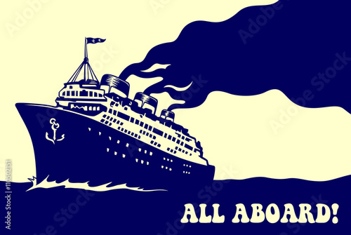 Fototapeta All aboard! Vintage steam transatlantic ocean cruise liner ship with smoke puff,