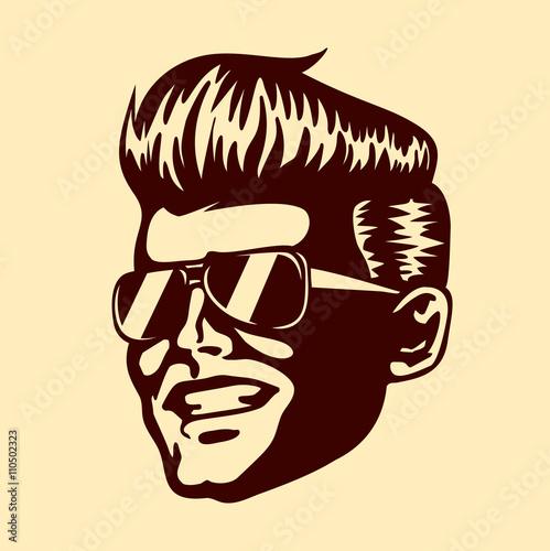 Vintage Retro Cool Dude Man Face Sunglasses Rockabilly Pompadour
