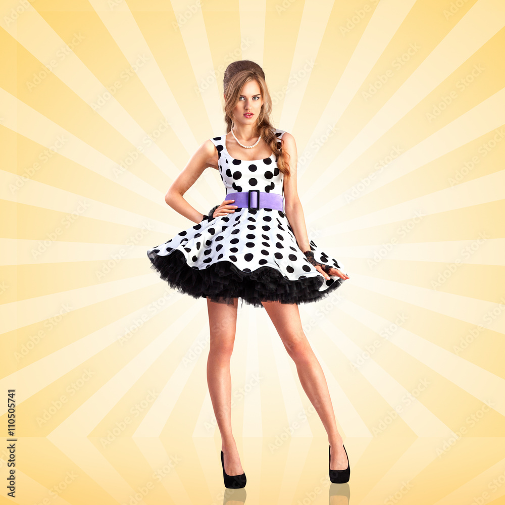 ad3db7ffb822 Dots and colors   Creative photo of a vogue pin-up girl