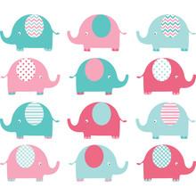 Pink And Aqua Cute Elephant Set