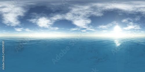 Fototapeta HDRI, High resolution map. the sun in the clouds over the sea obraz na płótnie