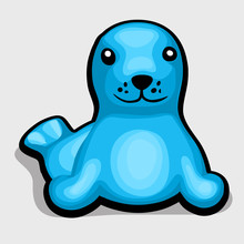 Blue Seal. Childrens Soft Toy. Vector Illustration