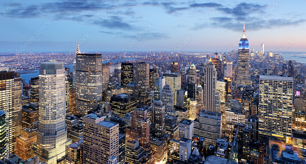 Fototapeta New York city at night, Manhattan, USA