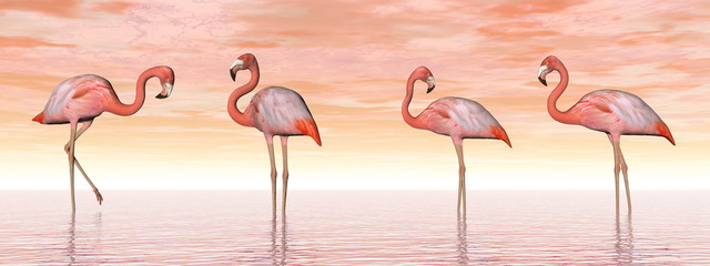 Panel SzklanyPink flamingos in water - 3D render
