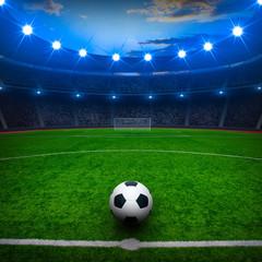 fototapeta piłka nożna stadion w świetle leflekorów