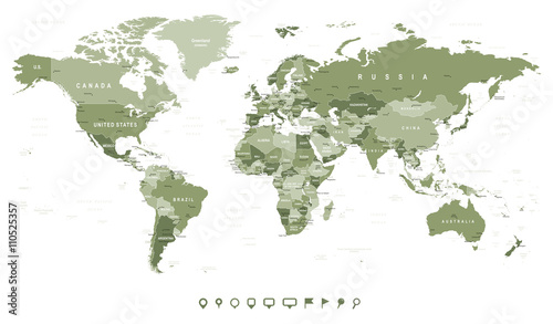 Swamp Green World Map - borders, countries and cities -illustration