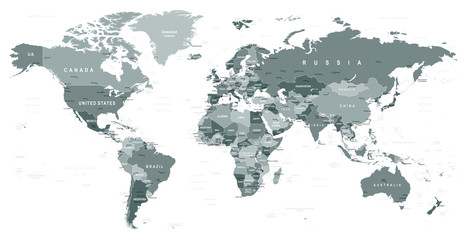 Grayscale World Map - borders, countries and cities - illustration   Highly detailed gray vector illustration of world map.