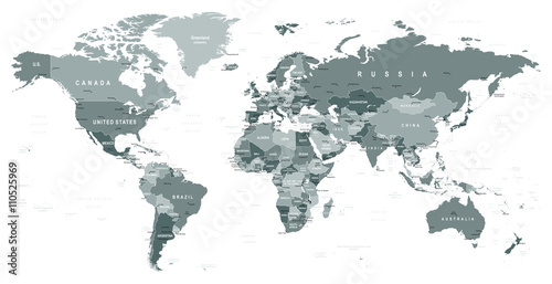Staande foto Wereldkaart Grayscale World Map - borders, countries and cities - illustrationHighly detailed gray vector illustration of world map.