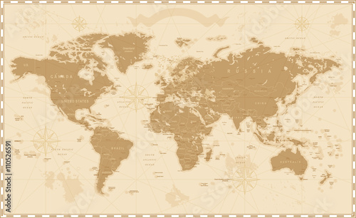 Foto op Plexiglas Wereldkaart Old Vintage Retro World Map