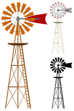 Vector Illustration Of A Windmill In Two Color Variations And Silhouette.