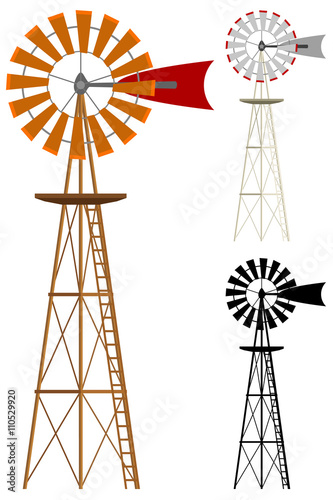 Obraz Vector illustration of a windmill in two color variations and silhouette. - fototapety do salonu