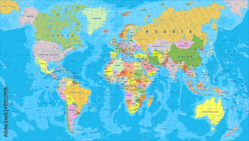 Foto op Canvas Wereldkaart Colored World Map - borders, countries and cities - illustrationHighly detailed colored vector illustration of world map.