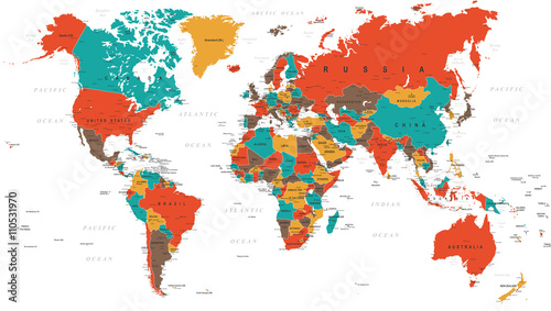 Fotografie, Obraz  Green Red Yellow Brown World Map - borders, countries and cities - illustration
