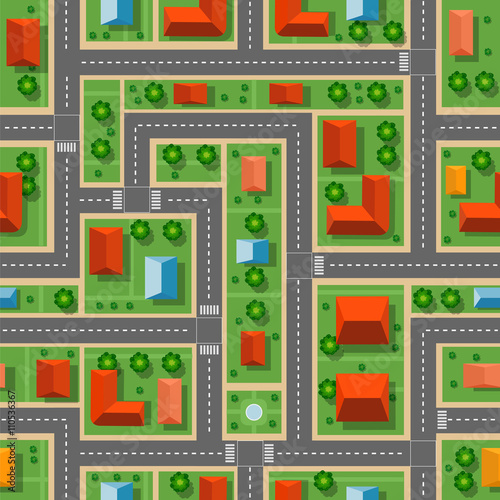Foto op Plexiglas Op straat Top view of the city seamless pattern of streets, roads, houses, and cars