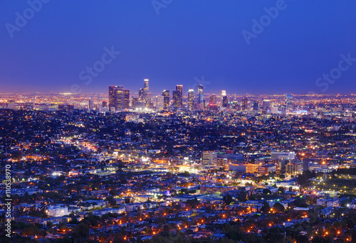 Staande foto Los Angeles View of the downtown Los Angeles skyline at night