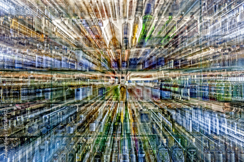 Photo Stands New York glass bottle abstract - stock image
