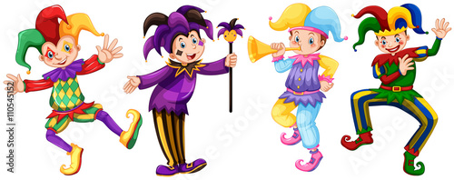 Four characters of jesters Canvas Print