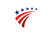 Star America Stripe Flag Logo