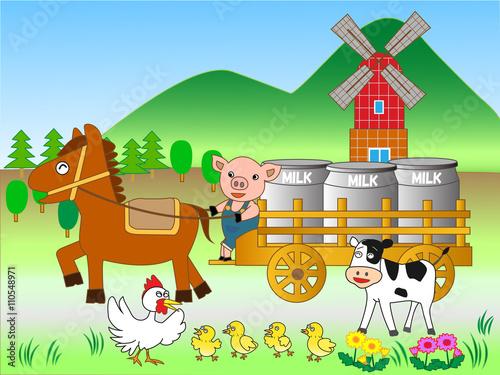 Fotobehang Boerderij 酪農の仕事