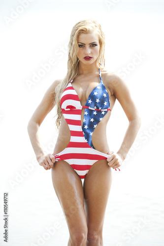 Fotografie, Obraz  Blonde Wearing American Flag Swimsuit