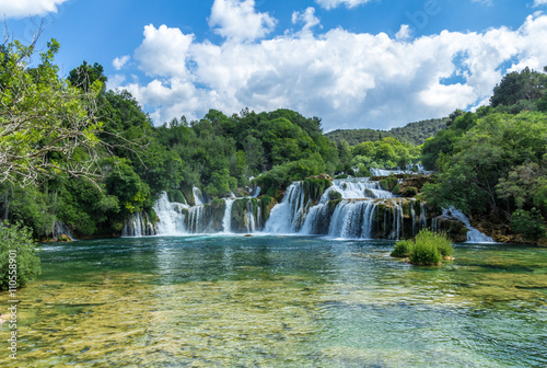 Foto op Canvas Watervallen Krka national park, Croatia - May 05, 2016: waterfall and rock pool