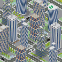 FototapetaIsometric Architecture. Business City. Cityscape with Scyscrapers