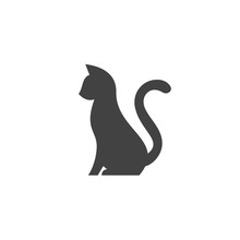 Silhouette Of Pet Cat With A Tail Up Abstract Stylization Animal For Your Business Logo