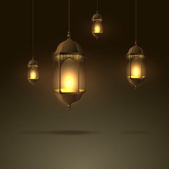 beautiful lamps hanging with glowing flame