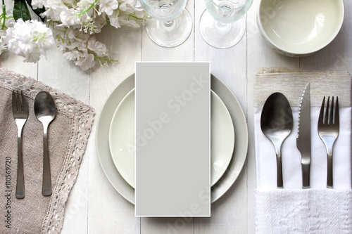 Table card mockup, menu mockup.  Vintage fashion photography.