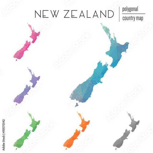 Fotomural Set of vector polygonal New Zealand maps