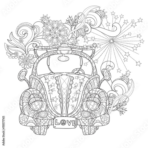 Pinturas sobre lienzo  Hand drawn doodle outline holiday car
