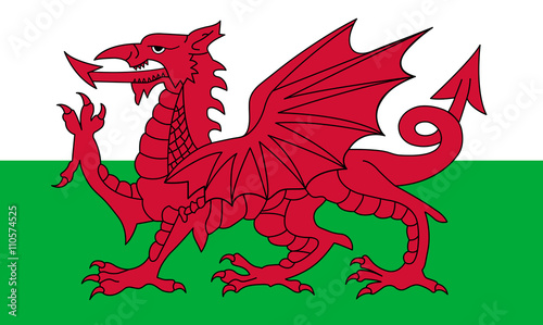 Fotografia Wales flag, red dragon on the white and green, vector illustration