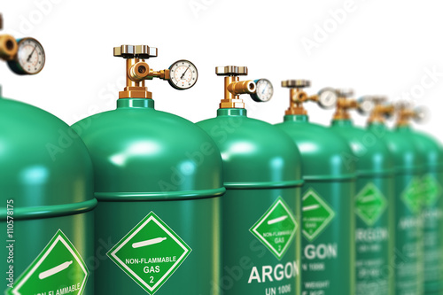 Row of liquefied argon industrial gas containers Wallpaper Mural