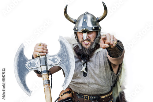 Hey You! Portrait of the furious strong angry viking Canvas Print