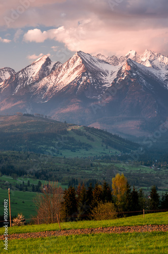 Cloudy Tatra mountains in the morning over Spisz highland