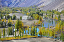Beautiful Landscapes Autumn Leaves With Blue River In Phander Valley Northern Pakistan