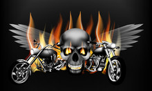 Fiery Motorcycles  On The Background Of A Skull With Wings