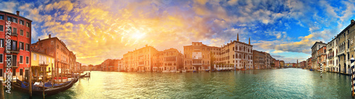 Poster Venetie Panorama of Grand Canal at sunset, Venice, Italy