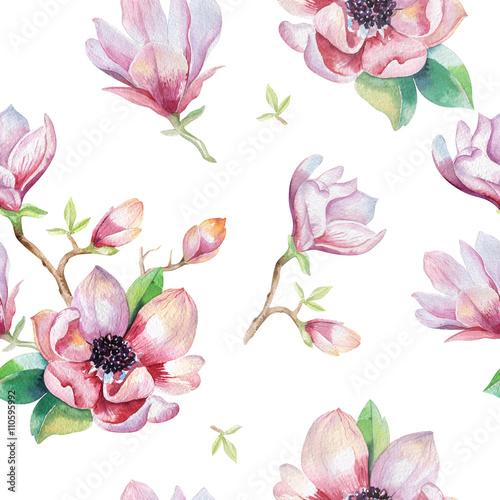 akwarela-bez-szwu-tapety-z-kwiatow-magnolii-lisci