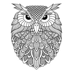 Owl openwork on a white background.