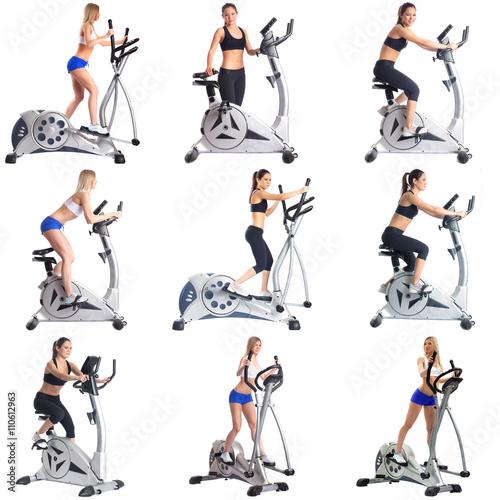 Foto op Plexiglas Fitness Set of girls practice in endurance on simulators