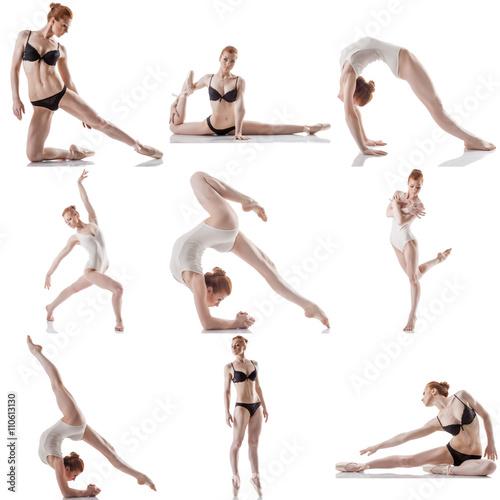 Poster de jardin Gymnastique Dance. Collage of flexible woman posing at camera