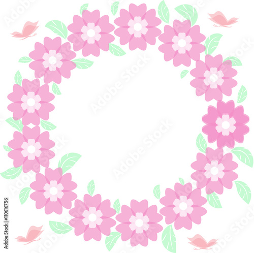 Round Flower Frame Vector Cornice Fiori Rotonda Vettoriale