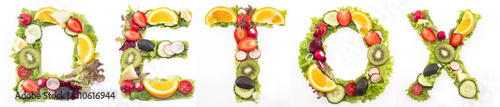 Fotografía Word detox made of salad and fruits