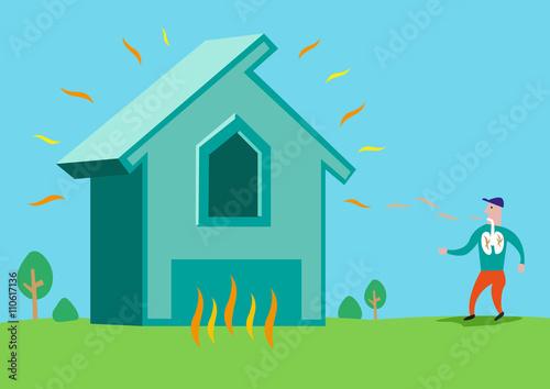 Fényképezés House in flames or with Asbestos or Radon Radiation